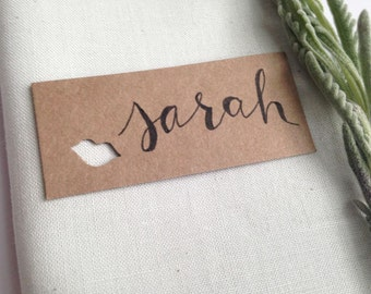 10 Bridal Shower Place Cards with Kiss cutout, Mini Rustic Name Cards