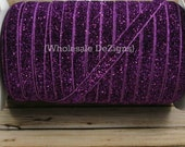 "Purple / Fuchsia Glitter Elastic 3/8"" FOE - Stretch Velvet Fold Over Elastic Foe Headbands - 3/8 inch Shiny Satin Elastic 2, 5, or 10 Yards"