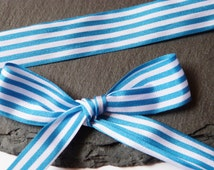 Blue And White Stripe Ribbon 16mm Berisfords -2
