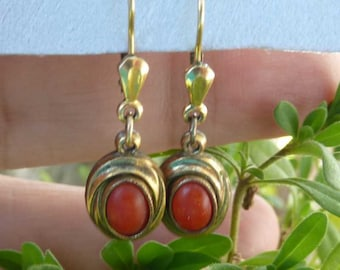1800s Antique Victorian 10K Red Coral Pierced Earrings ~ Marked M