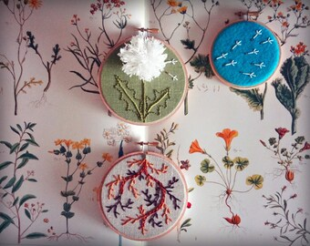 DANDELION PDF PATTERN - Hand Embroidery for summer flower hobby crafters.  Great for intermediate to ambitious beginner embroiderers