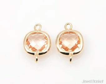 Light Peach Glass and Gold Frame Connector - 2pcs Light Peach Square Connector, Earrings Jewelry Connector / 9x14mm / SLPG068-C