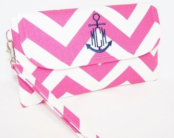 Chevron Wristlet with Anchor Monogram in Choice of Colors
