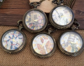 5pcs big Glass  series round pocket watch charms pendant 45mm