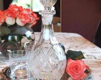 Vintage Glass Decanter Lead Crystal Decanter with Floral Pattern and Round Stopper - Barware Vintage Bar Serving Wedding Gift
