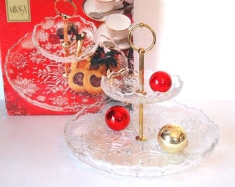 Vintage 2 Tiered Stand Tidbit Server Cake Stand Mikasa Snowflake Christmas Glass Server in Box - Made in Germany | Christmas Home Decor