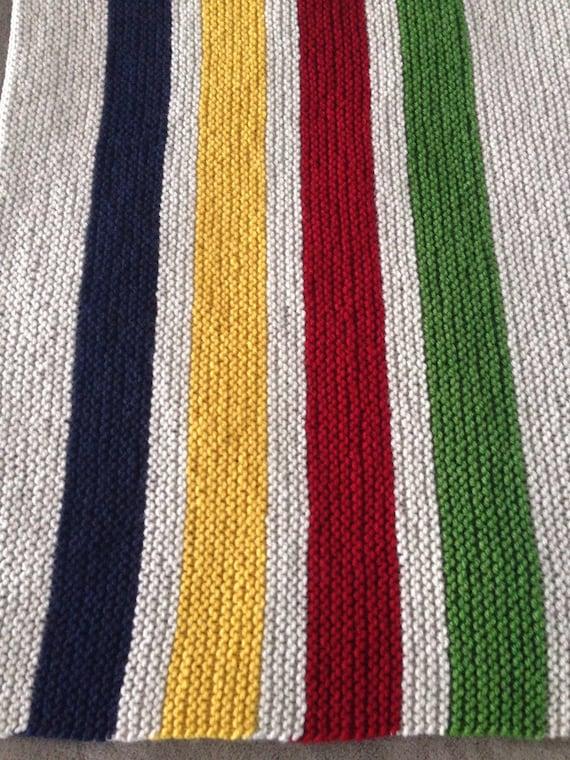 Hudson Bay Blanket Knitting Pattern : Hudson Bay Inspired Hand Knit Baby Blanket Free by shopKNITKA