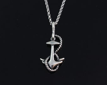 925 Sterling silver Anchor Necklace, Silver Anchor Jewelry, Anchor pendant RX151