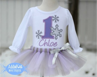 Personalized Winter ONEderland Birthday Sparkle Snowflake Tutu Outfit - Lavender and Gray
