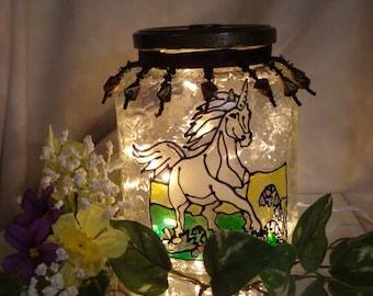 Unicorn Recycled Jar Night Light/Lamp