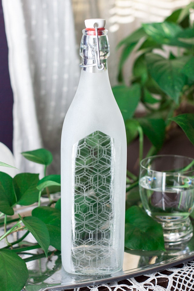 CUSTOM FROSTED ... Reusable Glass Water Bottle