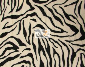 "White Zebra Print Polar Fleece Fabric 60"" Width Sold By The Yard (1)"