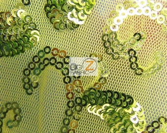 "Paisley Swirl Sequins Mesh Fabric - GREEN/GREEN - 50""/54"" Width Sold By The Yard"