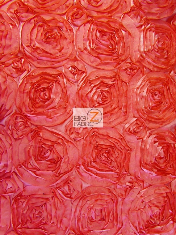 2 TWO-TONE SPIRAL ROSETTE TAFFETA FABRIC-Coral SOLD BTY 54/""