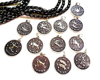 Individual Antique Silver Zodiac Charms - You Pick  - 22-5-5