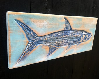 Tarpon Fish v-carved into a piece of Florida Cypress-Key West, Islamorada, Boca Grande, Naples, Sanibel, Marco, Sarasota, Tampa Bay Springs