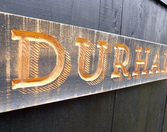 Carved DURHAM NC Sign - V-Carved, Painted and Distressed  Wall Decor  North Carolina Bulls, Duke Gift