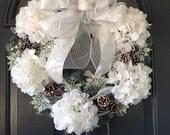 Winter Christmas Wreath, white hydrangeas, snowflakes
