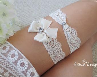 Cream Ivory Wedding Garter Set, Lace Garter, Cream Ivory Garter, Something Ivory, Garter Set, Bow Garter- code: G155cream