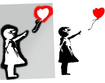 Banksy Balloon Girl Stencil, Banksy Girl with Balloon, Reusable Banksy Stencil Art Gift, Ideal for painting Walls, Banksy Home Décor Stencil