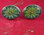 Vintage Spider web cufflinks spider cufflinks Dante Cross cufflinks Religious masonic hidden symbolism green cuff links cool mens gift