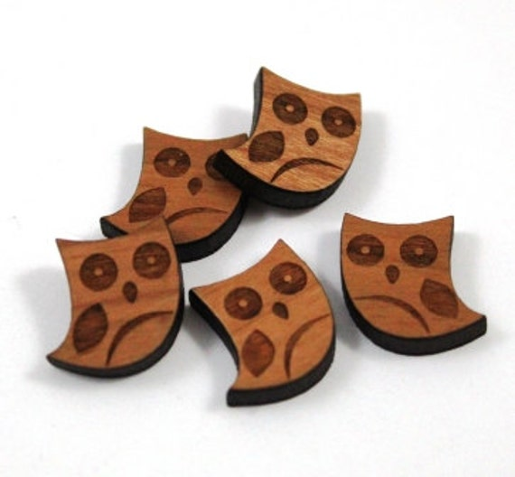 Laser Cut Supplies-8 Pieces.Owl Charms -Laser Cut Wood Owl -Earring Supplies-  Little Laser Lab Sustainable Wood Products