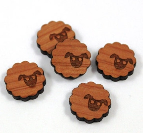 Laser Cut Supplies- 8 Pieces.Sheep Charms - Laser Cut Wood Sheep -Earring Supplies- Little Laser Lab Sustainable Wood Products