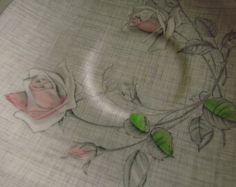 Pink Rosebuds on Grey Linen - Collectable Saucer from J and G Meakin