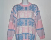 Vintage 80's pink and blue sweater