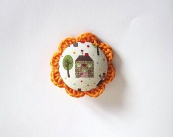 Handmade house brooch. White orange brooch. village brooch. Crochet brooch. Fabric brooch. kawaii brooch. Woodland accesories.
