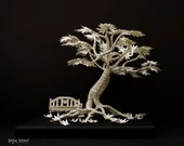 ON SALE!! The Tree of Awakening - Book Paper Sculpture - Paper Tree with bench on wood.