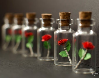 Tiny Paper Rose in a bottle - Vial with miniature rose - Choose your color