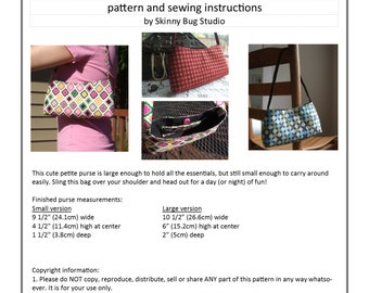 PDF Pattern - digital download - petite purse - sewing instructions - DIY shoulder bag pattern - small purse tutorial - small and large size