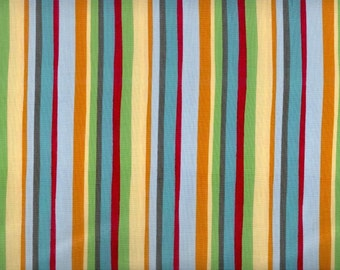 Think Positive Stripe fabric - vertical stripes in blue green yellow red orange - Elizabeth Studios - by the YARD