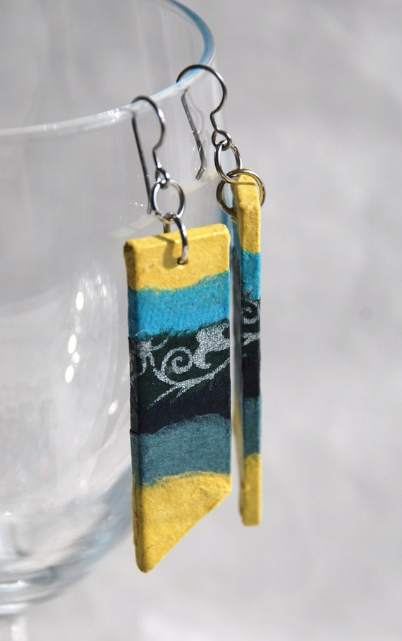 Yellow Blue Hanji Paper Earrings OOAK Patchwork Stripes Yellow Blue Green Hypoallergenic hooks Lightweight Dangle Earrings