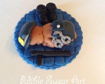 POLICE BABY SHOWER Cake Topper police Officer fondant cake topper
