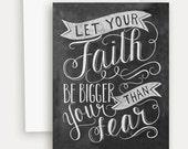 Faith Card - Encouragement Card - Hand Lettering - Chalkboard Art - Unique Card - Chalk Art
