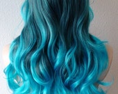 Turquoise Teal Ombre wig. Long curly hair long side bangs hand craft fashion hairstyle wig for daytime use or Cosplay..