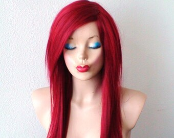 Wine red wig. Long straight hairstyle wig. Durable heat friendly synthetic wig for daily use or Cosplay.