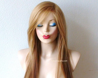 Golden blonde / Auburn Ombre Long straight layered hair long side bangs wig. Durable Heat resistant wig for daily use or cosplay