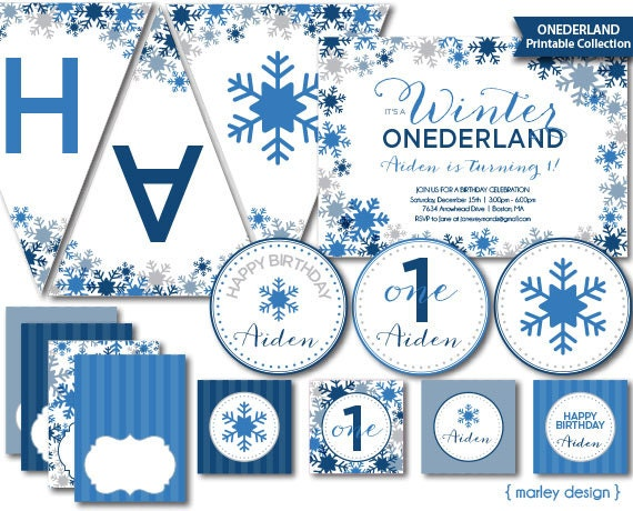 Onederland Birthday Party Decorations Printables Boys