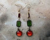 FEBRUARY SALE Long brass earrings for her gift ideas garnet red lime green orange Swarovski crystals