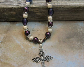 Purple cowgirl bling necklace cross pendant rodeo western religious jewelry