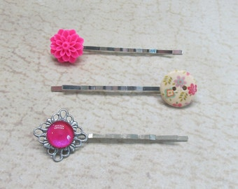 Hot pink romantic hair pins jeweled bobby pins gift ideas for her floral button