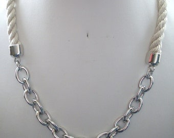 10mm Natural Twisted Rope and Chunky Silver Chain Necklace