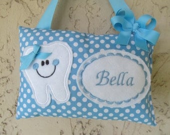 Tooth Fairy Pillow Blue Polka dot Personalized