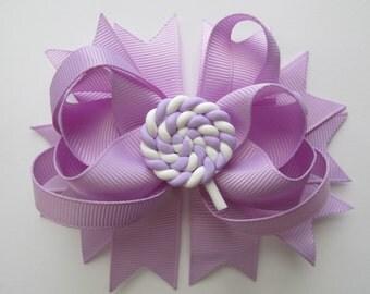 Hair Bow, Lollipop Hair Bow, Lavender Lollipop Hair Bow,