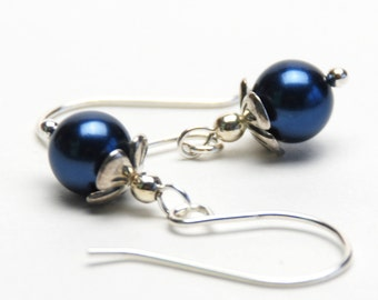 Navy Blue Earrings - Navy Blue Glass Pearl and Sterling Silver Earrings - Handmade Jewelry