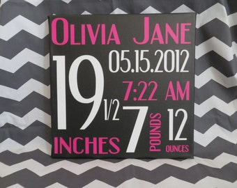 Canvas Birth Announcement, Girl Birth Announcement, Custom Wall Hanging