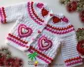 Crochet Pattern for Baby Toddler Sweater, Hearts of Love, PDF 12-093 INSTANT DOWNLOAD